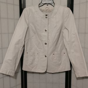 New White Leather Dialogue Jacket sz XS/S